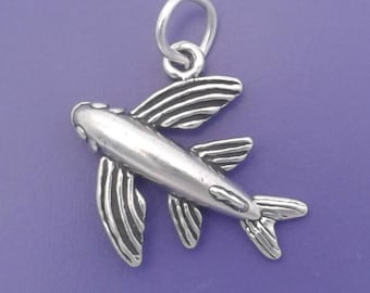 FLYING FISH Charm .925 Sterling Silver Fisherman Pendant - lp2634