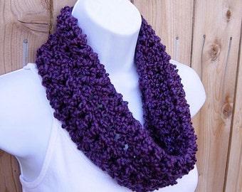 SUMMER COWL SCARF Solid Grape Dark Purple, Small Short Infinity Loop, Crochet Knit Soft Lightweight Neck Warmer, Ready to Ship in 2 Days