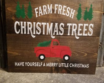 Christmas Tree sign - Merry Christmas sign  - Vintage Truck