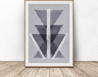 Geometric Painting, Tribal Print, Bohemian Art, Gray Abstract Art, Nordic Art, Boho Wall Art, Scandinavian Wall Art, Black White Printable