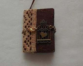 Brownie No.4 mini junk journal pendant/handmade/jewelry/steampunk/miniature/book/diary/grimoire/spellbook/vintage/faux/leather/