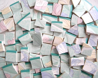 Mosaic China Tiles - Pastel Colors - 100 Tiles - Recycled Plates