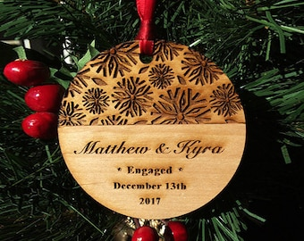 Engaged Anniversary Christmas Ornament - Damask Personalized Wood Newlywed Holiday Ornament - Engagement Gift - Custom Text - SKU#295