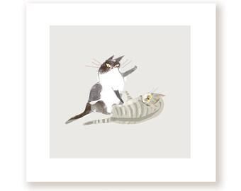 Cat Fight - Fine Art Print - Cat Artwork - Funny Cat Art
