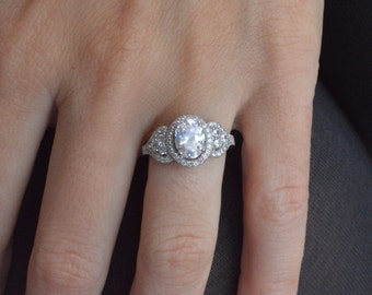 Oval Halo Engagement Ring - Oval Cut Solitaire Ring - Sterling Silver Engagement Ring - Halo Ring - Cubic Zirconia Promise Ring - Engagement