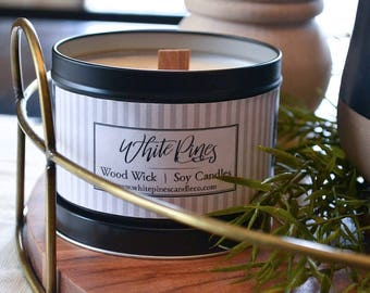 White Pines 14oz. Black Tin + Wood Wick