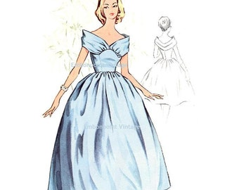 Plus Size (or any size) Vintage 1950s Bridesmaid Dress Pattern - PDF - Pattern No 117 Charlotte  50s  Fashion Sewing Instant Download