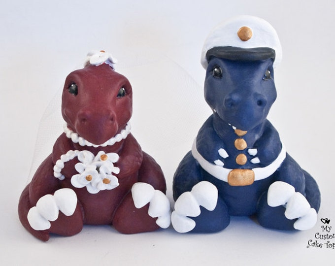 Dinosaur Cake Topper - T-Rex Bride and Groom