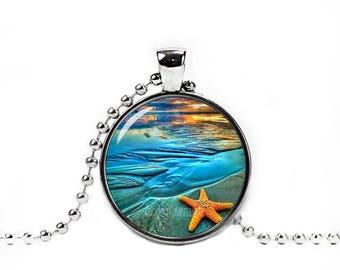 Starfish Pendant Starfish Necklace Starfish Jewelry Photo Glass Pendant