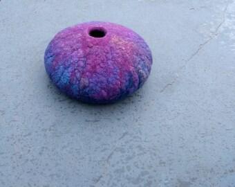 Purple blue felted bowl silk, damson purple felt bowl, felted vessel felt vase blue, damson, home decor - medium size