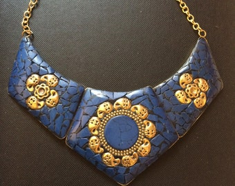 Lapis Lazuli Bib NECKLACE Gold and Blue Lapis Collar Necklace,Nepal Tibet Afghan Handmade,exquisite Statement necklace by Taneesi