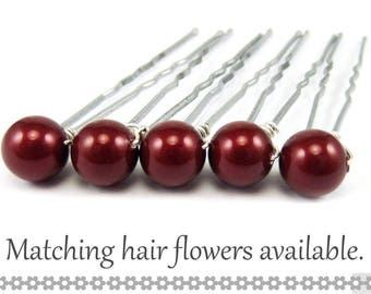 Red Pearl Hair Pins - 8mm Maroon Burgundy Swarovski Pearls (5 qty) - FLAT RATE SHIPPING