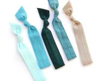 Neptune - 5 Comfort Elastic Hair Ties / Bands / Bracelets