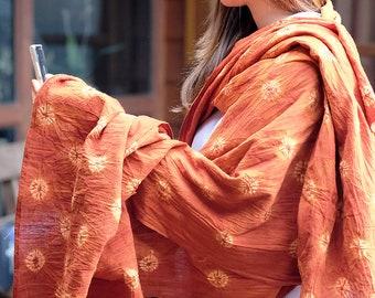RB025 [The Flowers] - Natural Saffron Red Dyed Shibori Fabrics