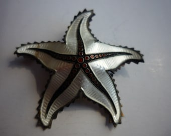 Vintage White Guilloche Enamel Starfish Brooch Pin by Ivar T. Holt Norway Sterling Silver