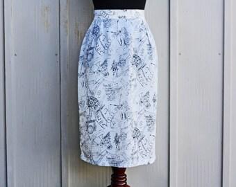 French Silk Skirt - White Silk Skirt - Vintage Clock Skirt - Timekeeper Skirt - Steampunk Skirt - Black and White Midi Skirt - Avant Garde
