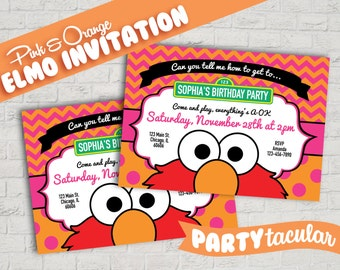 Sesame Street Pink & Orange Elmo Invitation