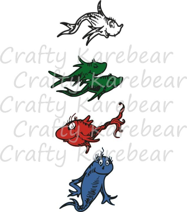 One fish two fish red fish blue fish svg and dxf ditial file for One fish two fish red fish blue fish coloring page