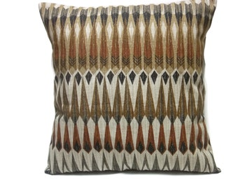 Decorative Pillow Cover Gray Rust Black Brown Taupe Multi Colored Same Fabric Front/Back Toss Throw Accent 18x18 inch  x