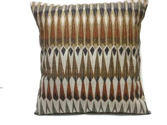 Decorative Pillow Cover Gray Rust Black Brown Taupe Multi