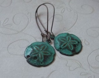 Sand Dollar Earrings, Teal Patina, Verdigris Sanddollars, Antiqued Copper Ear Wires, Beach Jewelry, Gift for Her, Birthday, Mother's Day