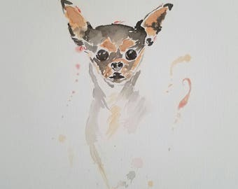 Original watercolor chihuahua painting. 8x10 unframed. One-of-a-kind, no prints.