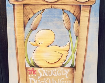 The Snuggly Duckling Tangled Hand Painted Oil Wood Sign