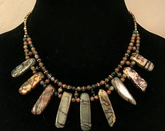 Boho statement bib jasper necklace