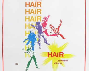 1979 Minimalist Movie Musical Poster, Hair with John Savage, Hippie Gifts, 1970s Hippie Poster