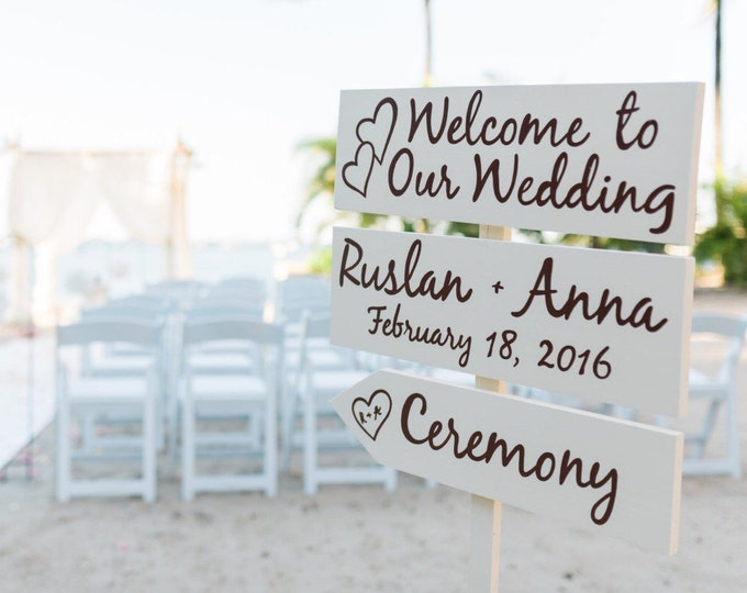 Ivory Welcome Wedding Sign, Beach Wedding Decor, Rustic Chic Wedding Beach Sign, Directional Arrow Sign
