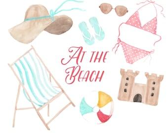 Watercolor summer clipart, beach clipart, beach illustration, flip flops, sunhat, bikini