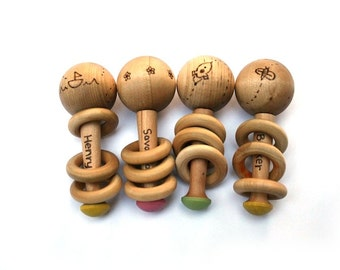 Baby Rattle - Personalized Toy - New Baby Gift - Waldorf Baby - Organic Baby Wooden Toy