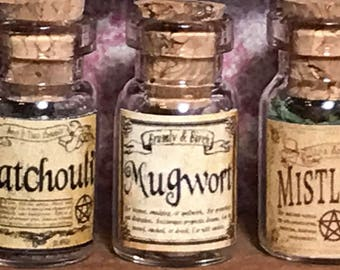"Jar of MUGWORT for a dollhouse, witch's herbs and poisons, dollhouse size, in a glass jar 1:12 1/12 1"", under 1"" tall, (simulated)"