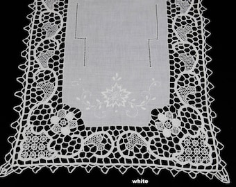 "Handmade Reticella Lace Needle Lace Table Runner 14x41"" White,  Hand Embroidery, Rectangular Dresser Scarf"