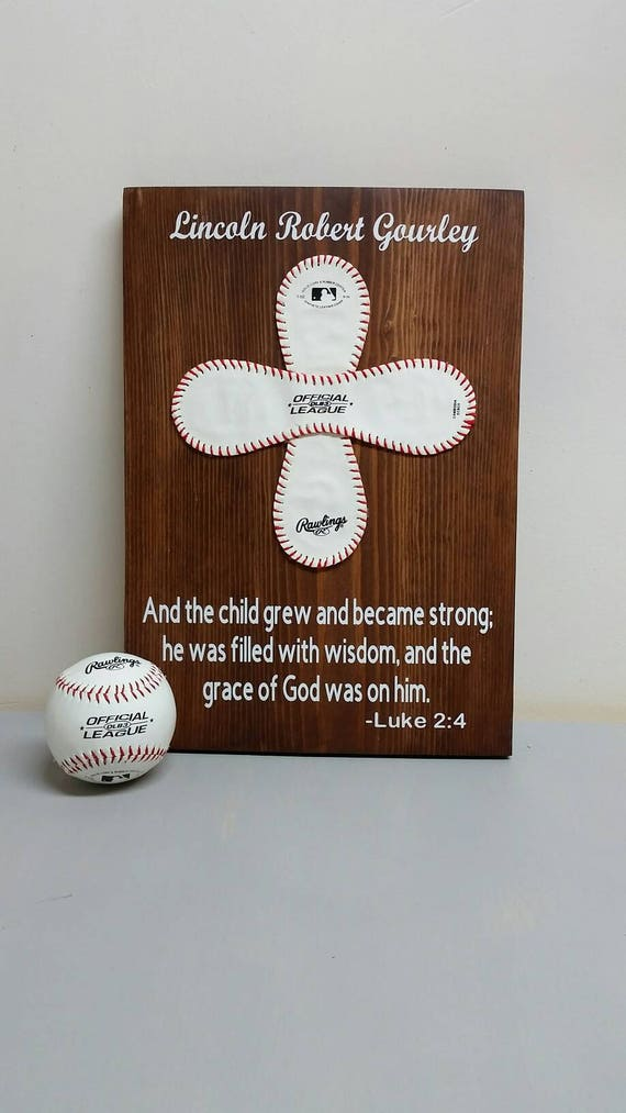 Personalized Baseball Cross Sign with Bible Quotation
