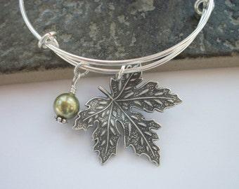 Silver Maple Leaf Adjustable Bangle Bracelet - Swarovski Pearl Or Crystal Birthstone - Bridal Party Gift