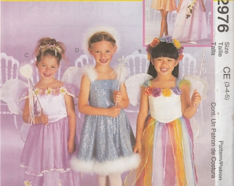 McCall's Costumes 2976 Size 3-4-5, 4-5-6, 7-8-10 or 10-12-14 Children's/Girls' Fairy, Angel, Thumbelina Costume Sewing Pattern 2000 Uncut