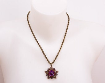Swarovski Crystals and Pearls Beaded Pendant in Shades of Bronze, Purple and Deep Red on Antique Brass Spiral Necklace. Vintage Style S87