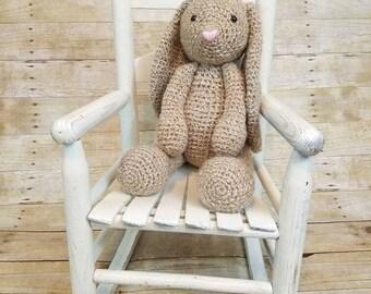 Classic Bunny Plush, Stuffed Bunny, Crochet Bunny Toy, Easter Bunny, Baby Shower Gift, Big Bunny, Brown Crochet Bunny, Amigurumi Bunny