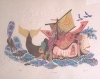 "Signed Amram Ebgi ""The Orchestra"" Colored & Embossed Artist Proof (AP)Judaica Print"