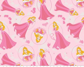 Disney Princess Fabric: Camelot Sleeping Beauty Princess Aurora Pink  100% cotton Fabric by the yard (CA298)