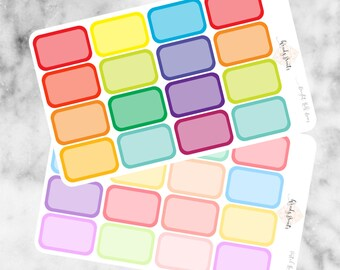 W110 Half Boxes Stickers, Half Boxes, Planner Stickers, Brights, Pastel Stickers, Erin Condren, Filofax, Mambi, KikkiK, Cute Stickers, Blank