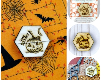 Halloween Pumpkin Needle Minder magnet - Cute  Adorable wood supply supplies sewing Cross Stitch Wood Magnetic Hand embroidery pin Keeper