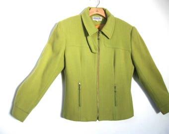 Green Wool Short Jacket Size Medium Chartreuse Jordan & Cole Vintage 80's