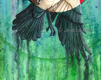 Fantasy Art Print- Two Moons - 4x11 Open Edition Print - Fantasy Surreal Crow Art