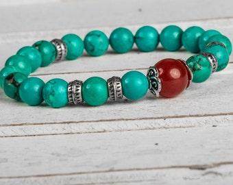 Green Stone Bracelet, Buddhist Bracelet, Turquoise Bracelet, Stretchy Gemstone Bracelet, Turquoise Beaded Bracelet