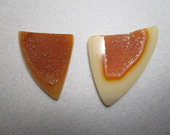 New Price / Natural Orange Druzy Quartz Cabs / Natural Orange Druse / Choice of Cabochons