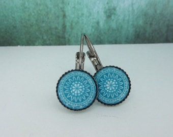 cabochon earrings mosaic ornament turquoise anthracite