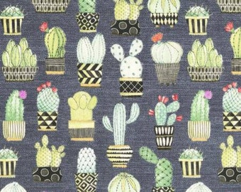 Michael Miller Lovely Llamas Collection Grey Cactus Hoedown fabric - 1 yard