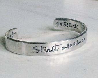 Spirit lead me - Psalms - hand stamped silver cuff bracelet